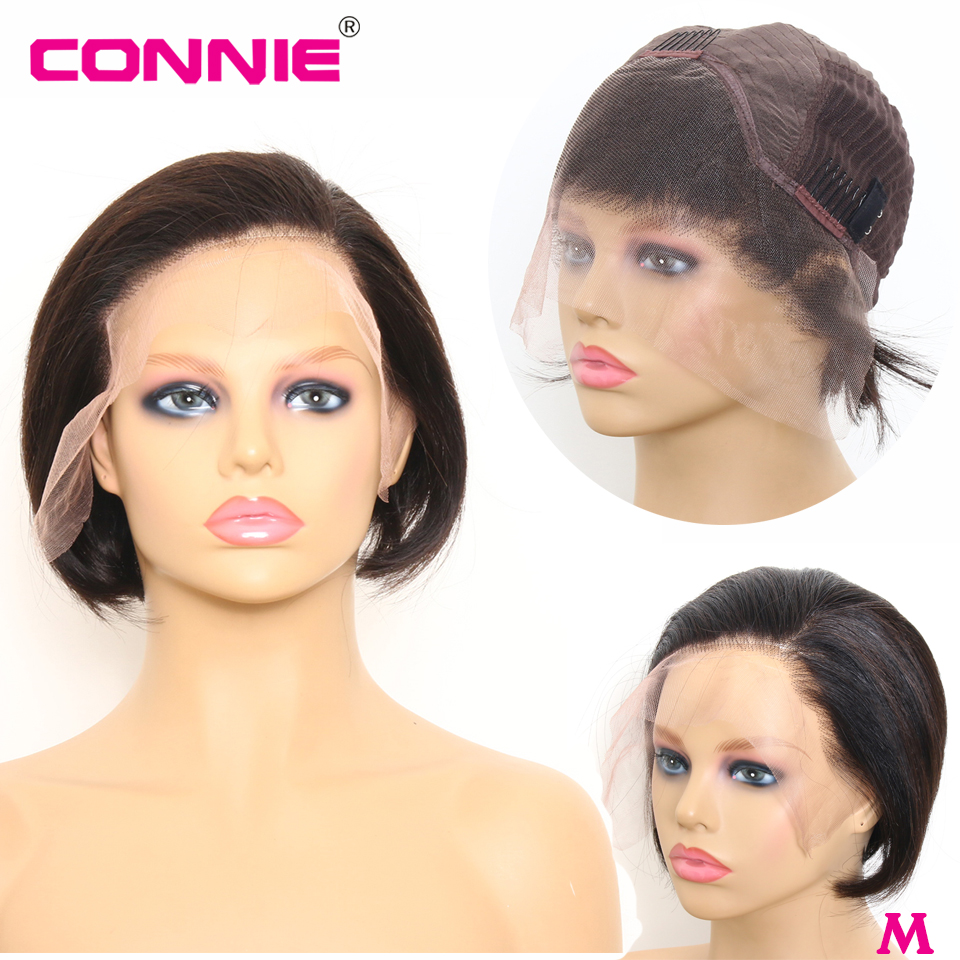 Connie Hair 13X4 Short Bob Lace Front Human Hair Wig For Black Women Natural Color Brazilian Remy Hair
