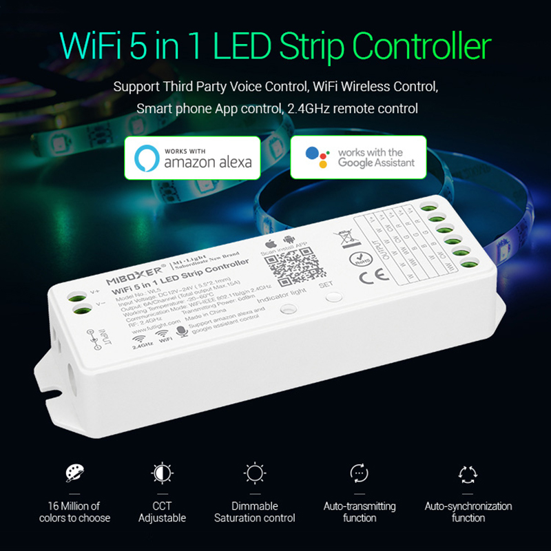 Milight WL5 <font><b>5</b></font> in <font><b>1</b></font> LED WIFI Controller For RGB RGBW RGB CCT Single color led strip light Alexa Voice phone App Remote image