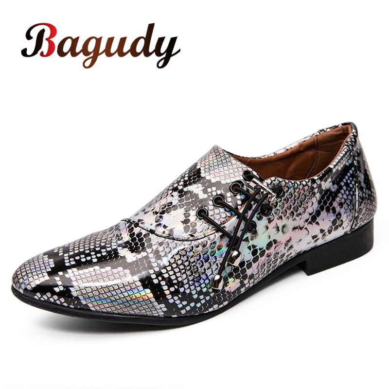 Menshoes Oxford Shoes for Men Slip On Style PU Leather Formal Shoes Fashion Leopard Skin Texture Patent Leather Comfortable