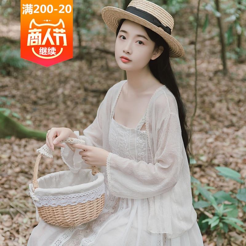 With Camisole Skirt Of Immortal Chiffon Sunscreen Cardigan Women's Summer Thin Fairy Small Coat Outdoor Shawl Short
