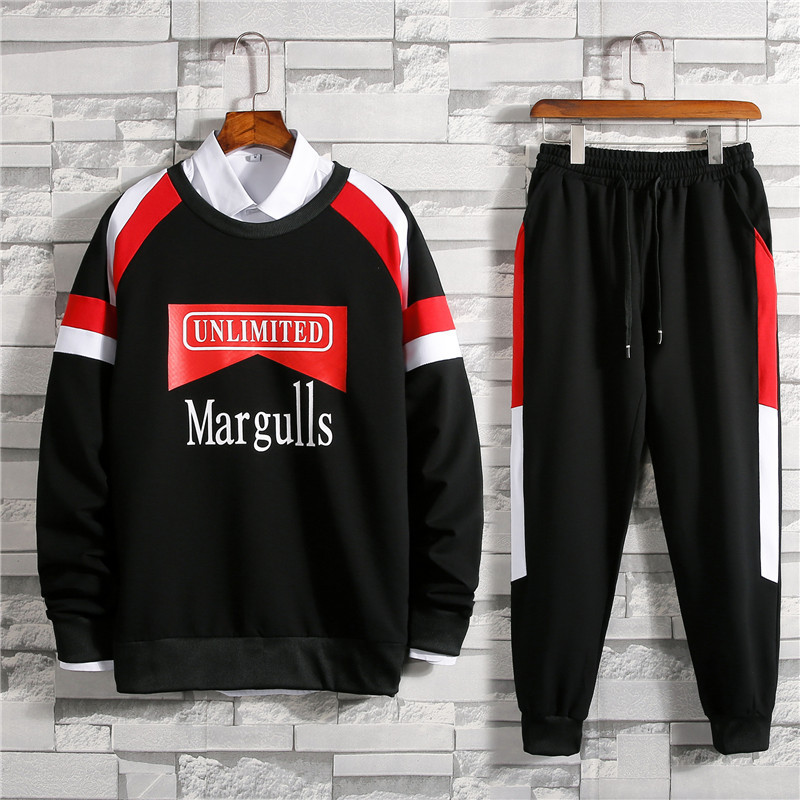 2019 Spring New Style Hoodie Suit Men's Casual Sports Fashion Handsome Printed Letter Crew Neck Set