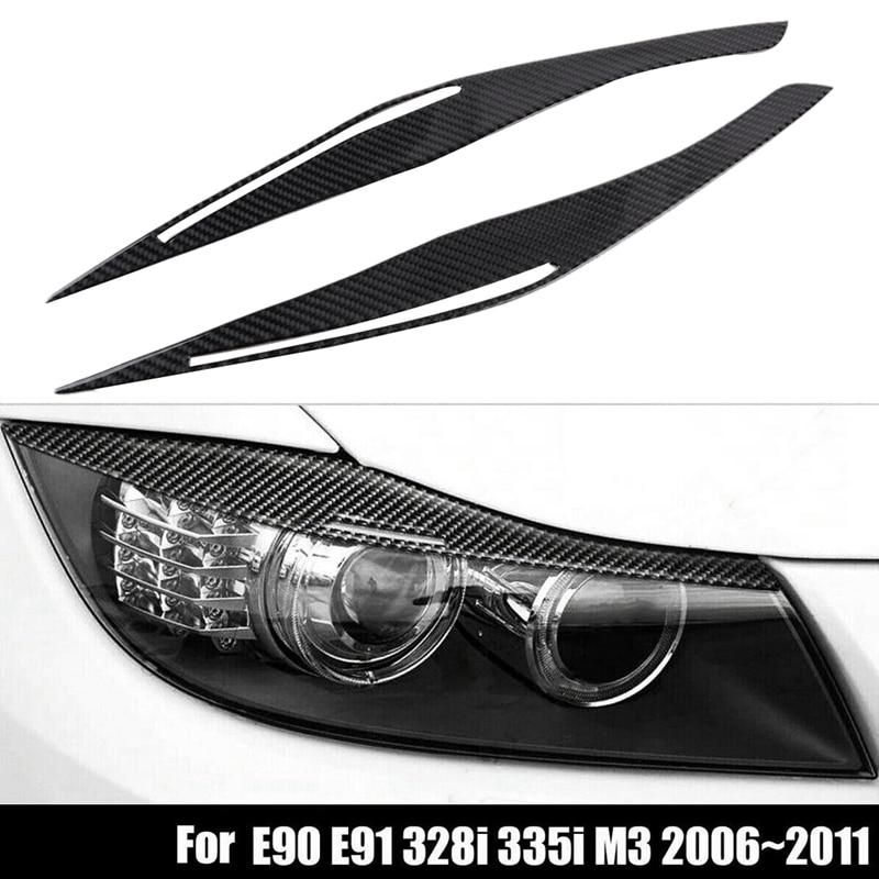 Carbon Fiber Headlight Eyelid Eyebrow Cover Stickers Trim for BMW E90 E91 328I 335I M3 2006-2011