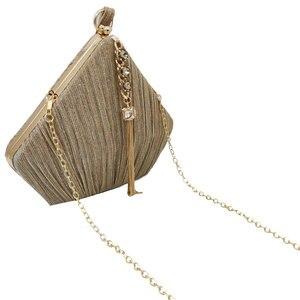 Image 2 - Butik De FGG Pentagon kadın saten akşam çantalar kristal püskül debriyaj çanta düğün parti kokteyl Minaudiere çantalar çanta