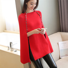 Women Double-Breasted Cape Batwing Sleeves Loose Poncho 2020