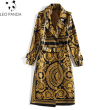 2020 Qian Han Zi Newest Autumn Runway Fashion Long coat Women Long sleeve vintage pattern print belt Bright leather trench coat(China)