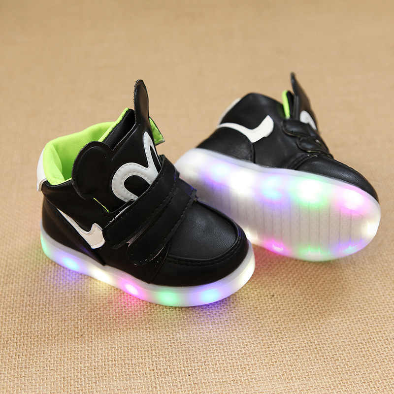 Chirldren's Spring New Children Leisure Led GIRLS Sports shoes Baby Luminous lighted SHOES Boys Glowing Kids Sneakers SH19053