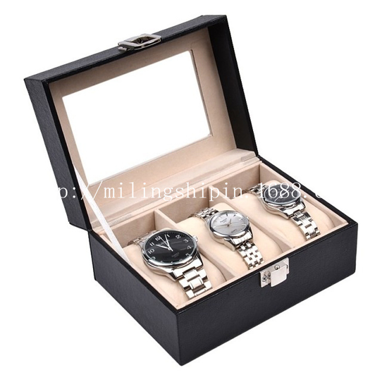 Top Grade 3 PU Leather Watch Box Storage Display Jewlery Box Craft Gift Packaging Box
