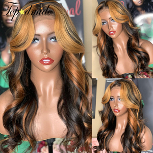 Topodmido Highlight Honey Blonde Color 13x6 Lace Front Wigs with Baby hair Indian Loose Wave Remy Human Hair Wigs for Women