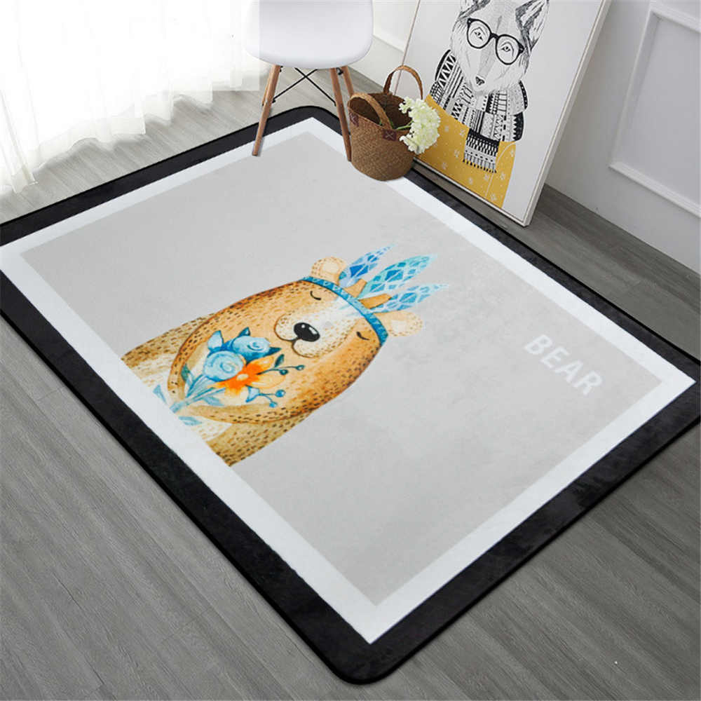 New Lovely Cartoon Animal Soft Rugs Floor Big Mats Anti slip Kid Room Decoration Children Crawling