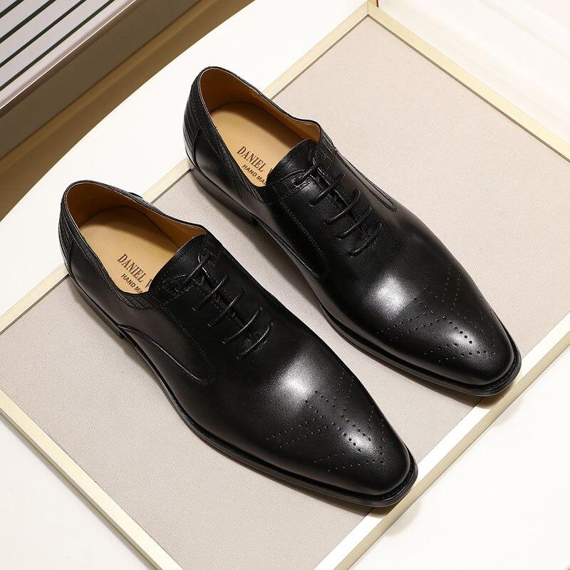 Genuine leather dress shoes for men, handmade, for office, wedding, men's Oxfords. 5