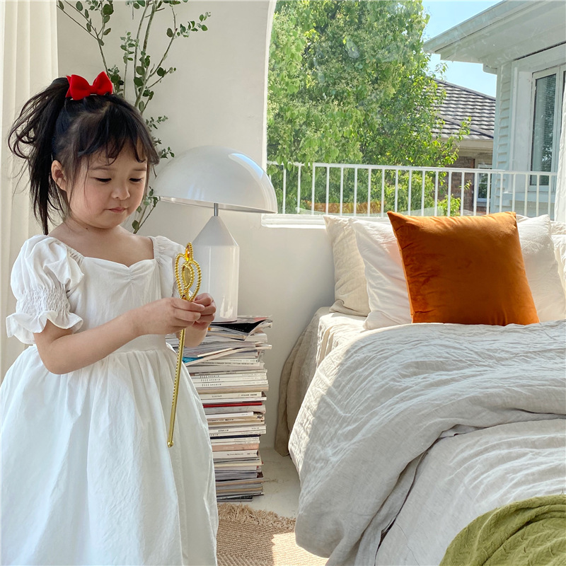 Girls Dress Princess Dresses 2020 Summer Korean Little Girls Retro Court Short-Sleeve Dress Toddler Girl Cotton Clothing 1-6Y