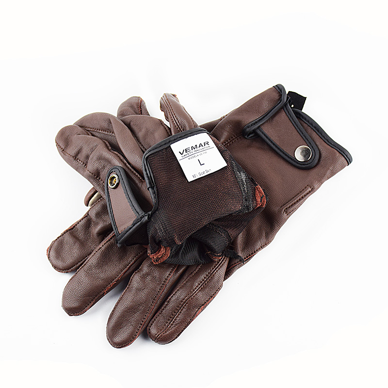VEMAR Classic Goat Leather Gloves Motorcycle Men Motorbike Gloves Shock Absorber Pad Touch Screen Motor Vintage Motocross Gloves