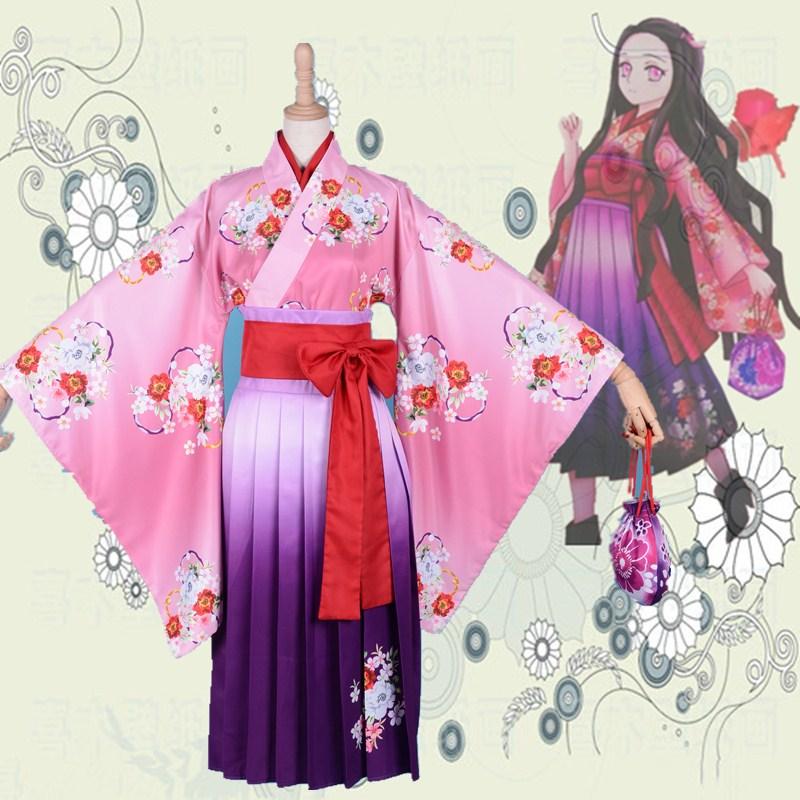 Demon Slayer:Kimetsu No Yaiba Kamado Nezuko Kimono Uniforms Cosplay Costume Halloween Costume Dress
