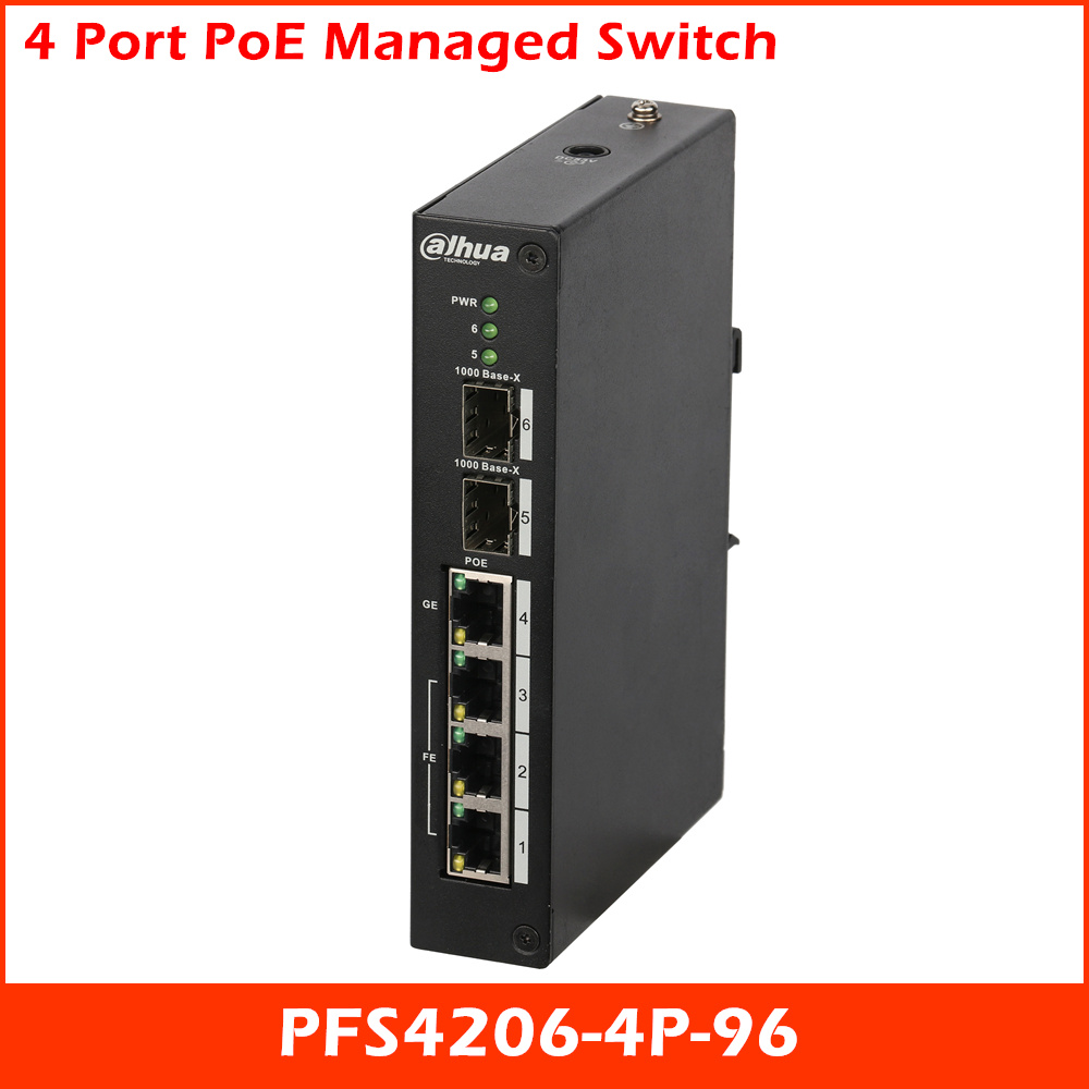 Original Dahua 4 Port Managed Transmission POE Switch Industrial Wide Temperature Design PFS4206-4P-96