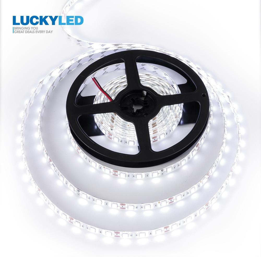 LUCKYLED 5M LED Strip 2835 5050 SMD 60 LEDs/M กันน้ำยืดหยุ่น LED 12 V ตกแต่งริบบิ้น LED ไฟ LED แถบ RGB