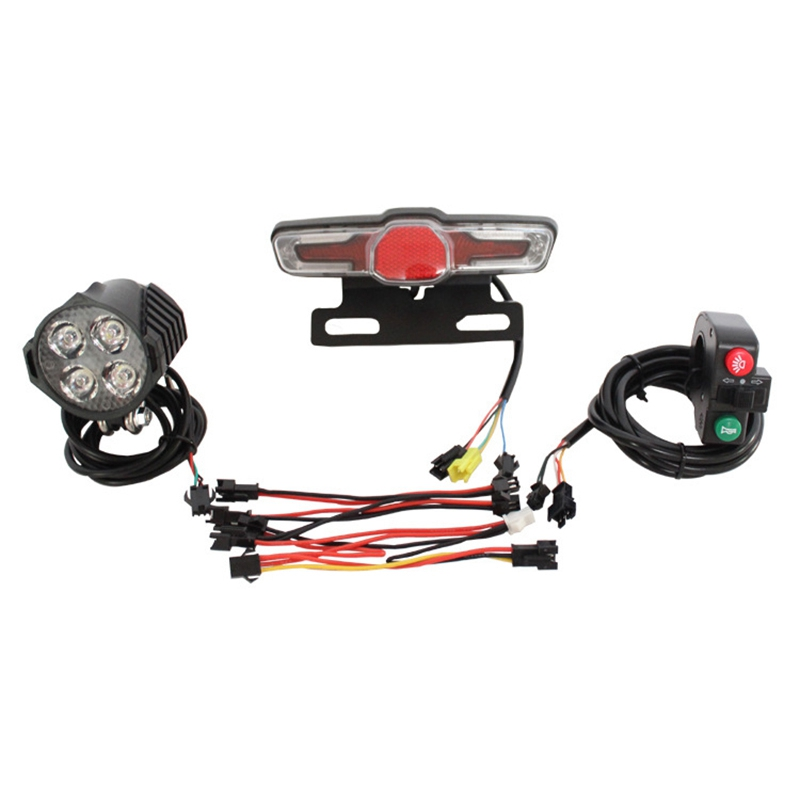 Dropship 12V 80V 12W 300 Lumen LED Front Light with Built In Horn 36V 60V 5W Rear Light with Brake and Turn Function Switch for|Bicycle Pumps| |  - title=