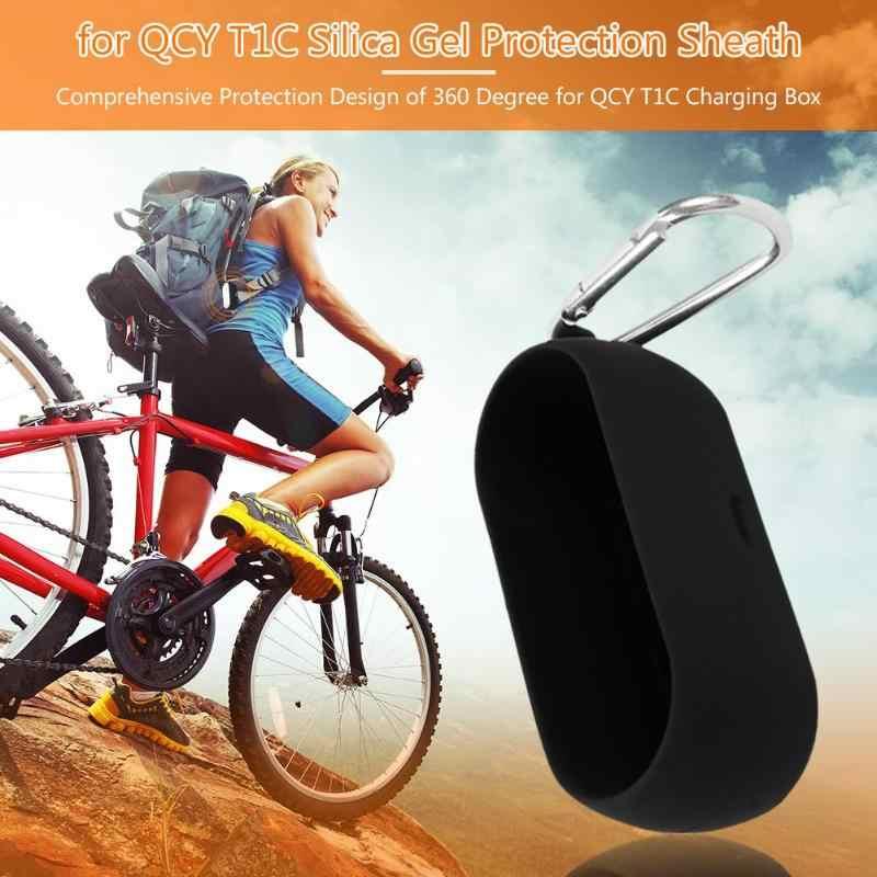 Ochronna zestawy słuchawkowe pokrowiec z miękkiego silikonu bezprzewodowe słuchawki Bluetooth przypadku dla QCY T1C bezprzewodowe słuchawki Bluetooth