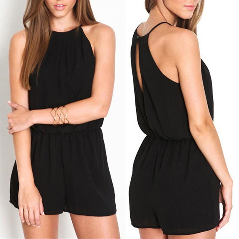 Women Romper Playsuit Solid Off Shoulder Halter Sleeveless Rompers Bandage Jumpsuit Playsuit For Summer Beach Party Overalls