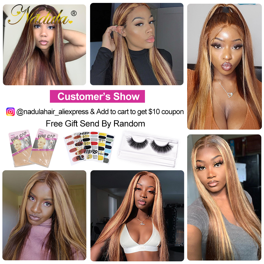 Nadula Hair 13X4 Straight Lace Front Wigs 150% /180% Density Highlight Lace Front  Wigs Virgin Hair Highlight Wig 6