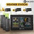 DIGOO DG TH8988 3 CH LCD Farbe Wetter Station + Outdoor Fern Sensoren Thermometer Feuchtigkeit Snooze Uhr Sunrise Sunset Calenda-in Temperaturinstrumente aus Werkzeug bei
