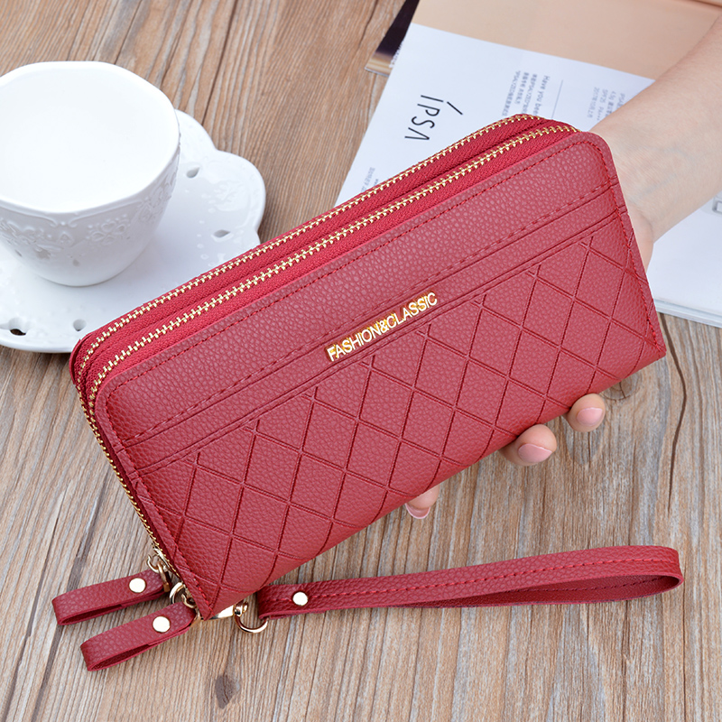 New Women's Double Zip Leather Wallet Long Large Capacity Plaid Clutch Double Wallet Korean Coin Mobile Phone Bag
