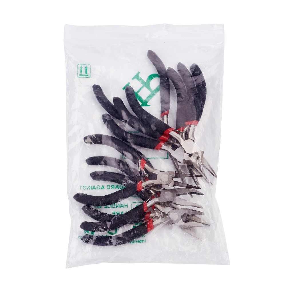 8 יח'\סט תכשיטי פלייר כלי פלדת פחמן שחור צבת סטים עבור ואגלי DIY ביצוע יד שטוח האף עגול האף פלייר חוט קאטר