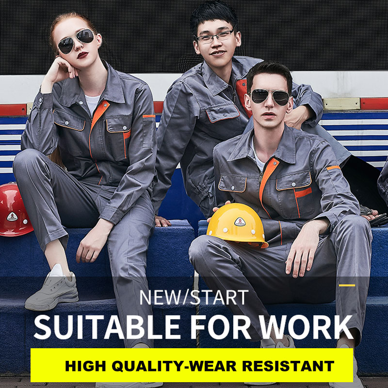 Men Women Workwear Suit Jacket and Pants Work Clothes Wear resistant Tooling Auto repair Working Jackets Factory Uniforms|Safety Clothing| |  - title=