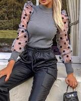 Женская Весенняя сетчатая пышная трикотажная рубашка в рубчик с длинным рукавом, Свободная Повседневная Блузка в горошек, топы, Элегантная ...