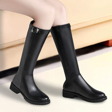 Online Celebrity Biker Boots Children 2019 New Style Knee Boots Flat Leather Boot Boots Autumn & Winter WOMEN'S Shoes Buskin(China)