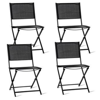 Set of 4 Outdoor Patio Folding Sling Chairs Textile Fabric Steel Tube Outdoor Chair Set Lightweight Beach Style Furniture Sets