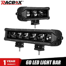 6D Lens Led Bar 8 14 Pollici Singola Fila Led Light Bar Per Offroad 4WD ATV UAZ Riflettore 12V 24V Luce del Lavoro di Guida Auto Refit Stying