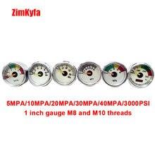PCP Paintball Air Gun Gewehr Manometer mpa/10mpa/20mpa/mpa/40mpa/psi/3000psi mini Micro Manometer M8/M10 Themen 1 stücke
