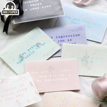 Mr paper 8 Designs Colorful Overgild Greeting Card Delicate Dreamy Starry Card Envelope Dream Mirror Christmas Birthday