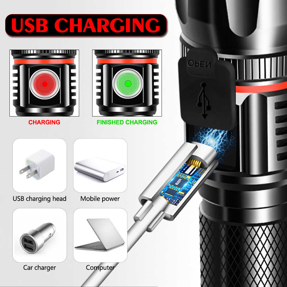 4000LM T6/L2 ไฟฉาย LED Super Bright USB linterna ไฟฉาย LED เคล็ดลับ Zoomable จักรยานไฟชาร์จ 18650