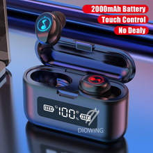 FOOVDO Bluetooth V5.0 Earphone Wireless Earphones Stereo Sport Wireless Headsets Waterproof Earbuds Headset with Charging Case wireless bluetooth earphone c10 earbuds headset sport bass stereo bluetooth earpiece metal magnet mic headsets for xiaomi iphone