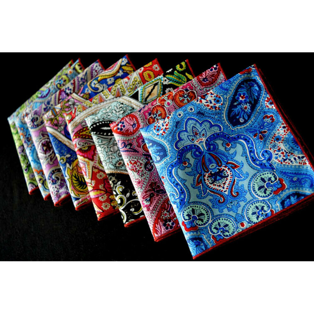 8 PCS Men's Colorful Paisley Floral Handkerchief Pocket Square Wedding Party YXTIE0317A