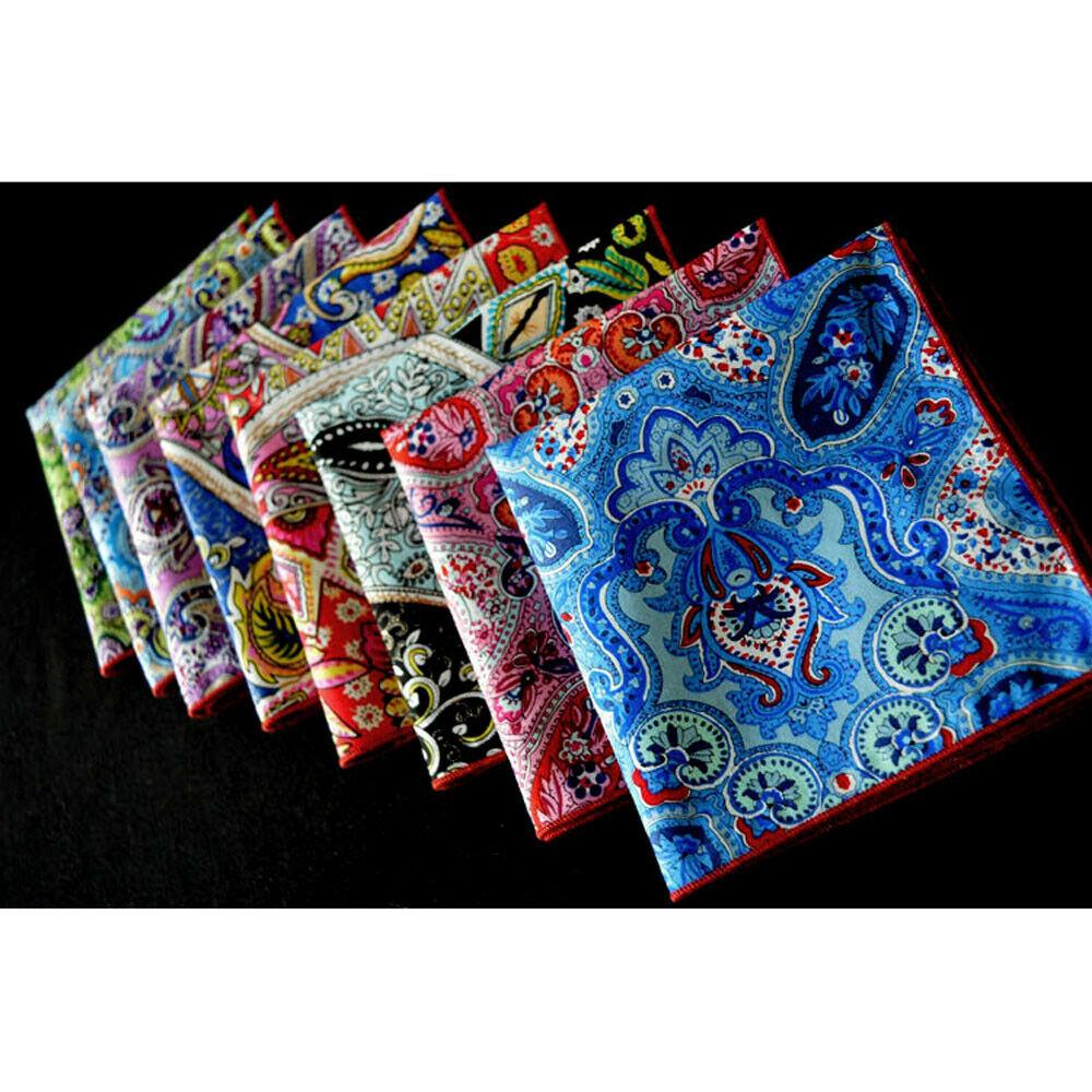 8 PCS Men's Colorful Paisley Floral Handkerchief Pocket Square Wedding Party YXTIE0317A