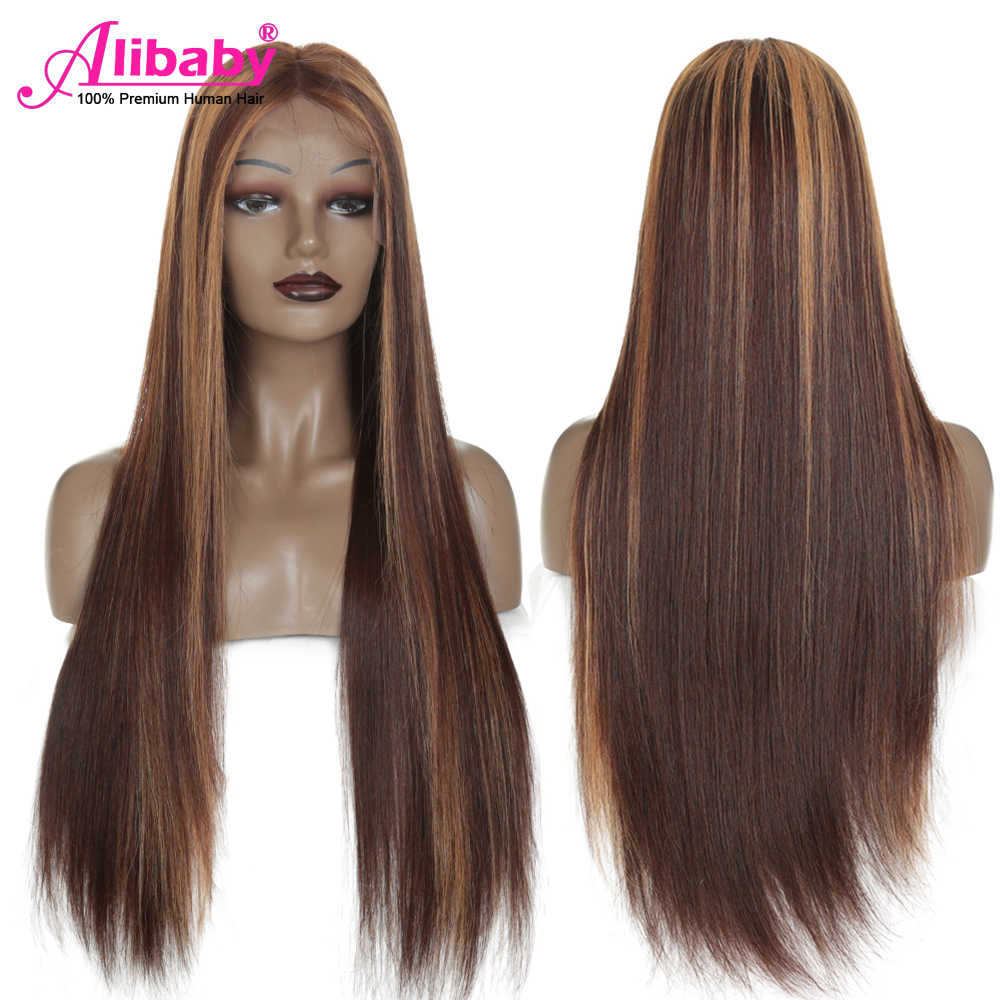 #4/27 Highlight Colored Human Hair Wigs Pre Plucked Lace Front Human Hair Wigs Ombre Brown Wig Human Hair Remy Brazilian Hair