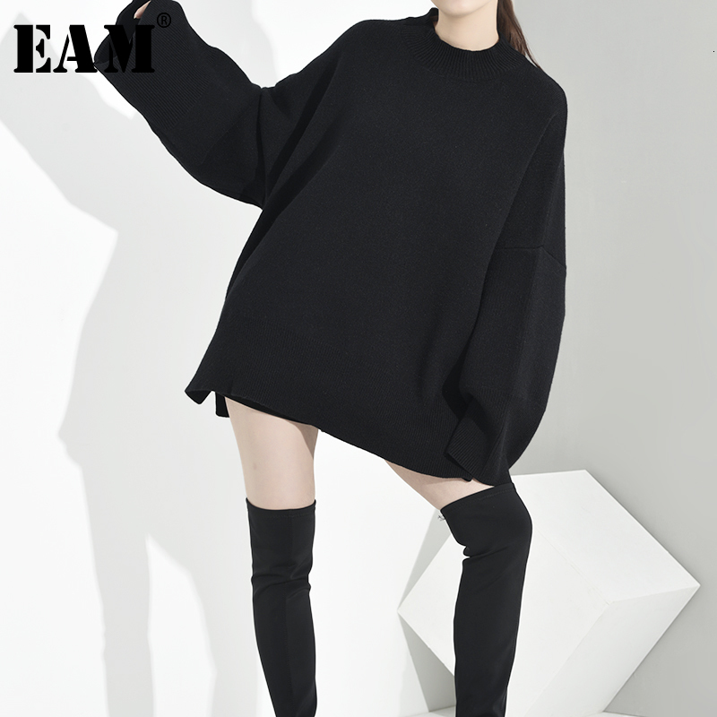 [EAM] Black Oversized Knitting Sweater Loose Fit Round Neck Long Sleeve Women Pullovers New Fashion Spring Autumn 2020 OB2750