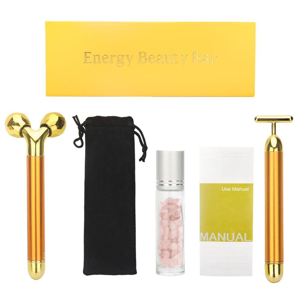 3 In 1 24k Energy Beauty Bar Golden Pulse Vibrating Facial Roller Massager Face Lifting Skin Care Tool With Gemstone Roller Ball