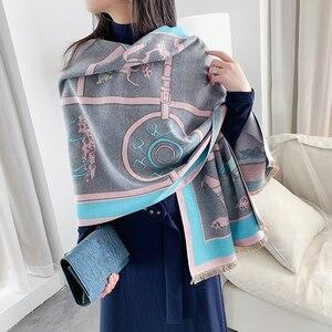 Image 3 - Luxus Winter Kaschmir Schal Für Frauen Warme Pashmina Schals und Wraps Mode Kette Tier Print Tuch Schals Für Dame 2019