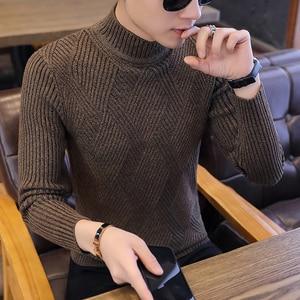 Image 1 - 新しい秋のレジャーカジュアル男性のセーター O ネックストライプスリムフィット Knittwear メンズセータープルオーバープルオーバー男性プルオム M 2XL
