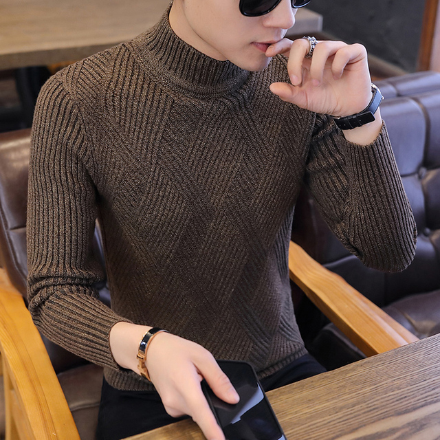 新しい秋のレジャーカジュアル男性のセーター O ネックストライプスリムフィット Knittwear メンズセータープルオーバープルオーバー男性プルオム M 2XL