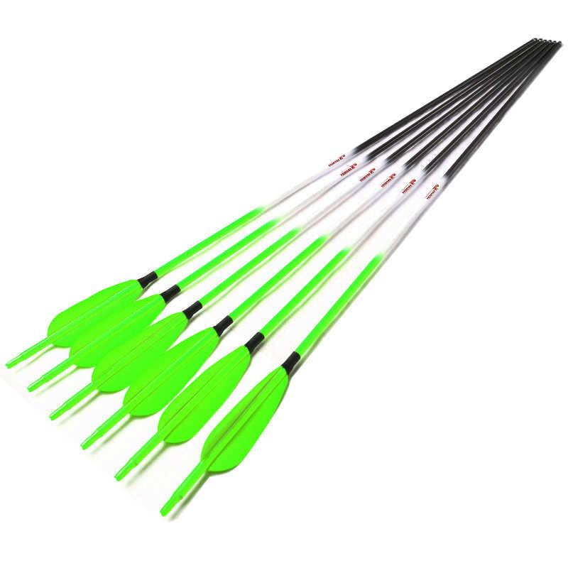 Linkboy アーチェリー Spine300-700 純粋な炭素グリーン矢印 4 ''トルコベーン Nocks ポイント複合反らすの弓の狩猟撮影
