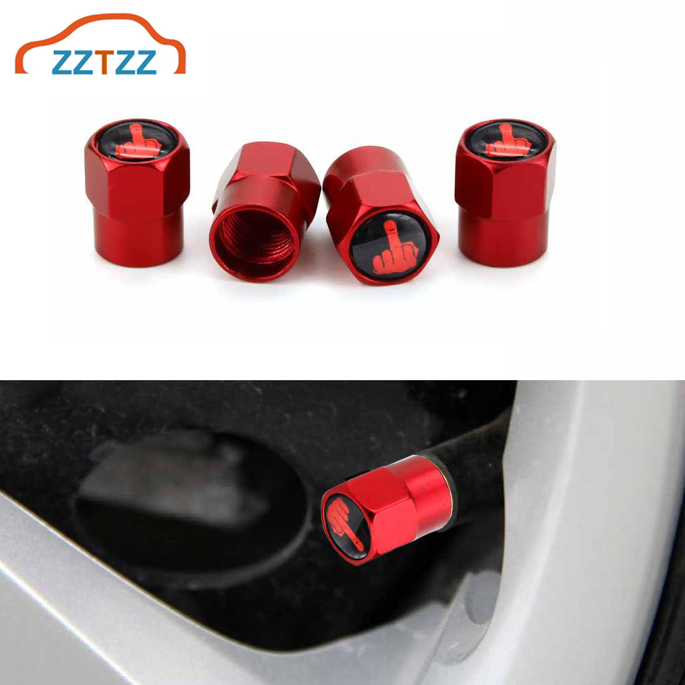 4Pcs/Set Red Anodized Tire Valve Stem Caps Aluminium Middle Finger Individuality Stem Dust Covers For Car Tires Decorative Caps