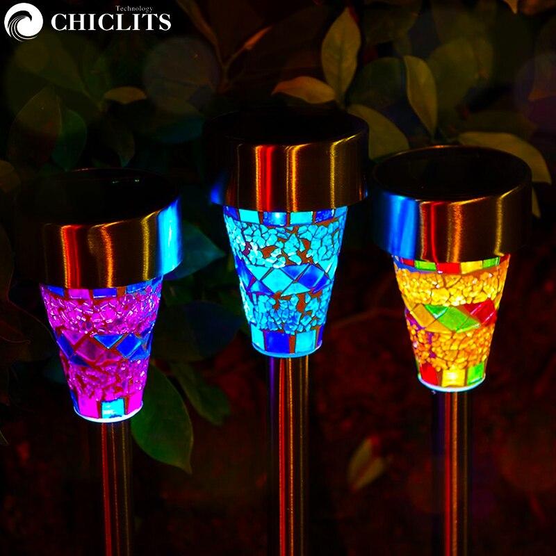 Işıklar ve Aydınlatma'ten Güneş Lambaları'de Chiclits 3 adet/grup LED güneş çim lambası açık hava bahçe dekorasyonu ışıkları çim yolu LED cam mozaik ışıkları mavi turuncu mor title=