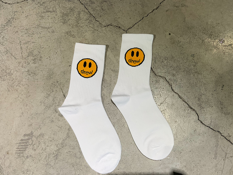 Smile Face Socks For Women Men Unisex 100% Cotton Drew Printed Thick Drew House Stocking Casual Cotton Hiphop Socks