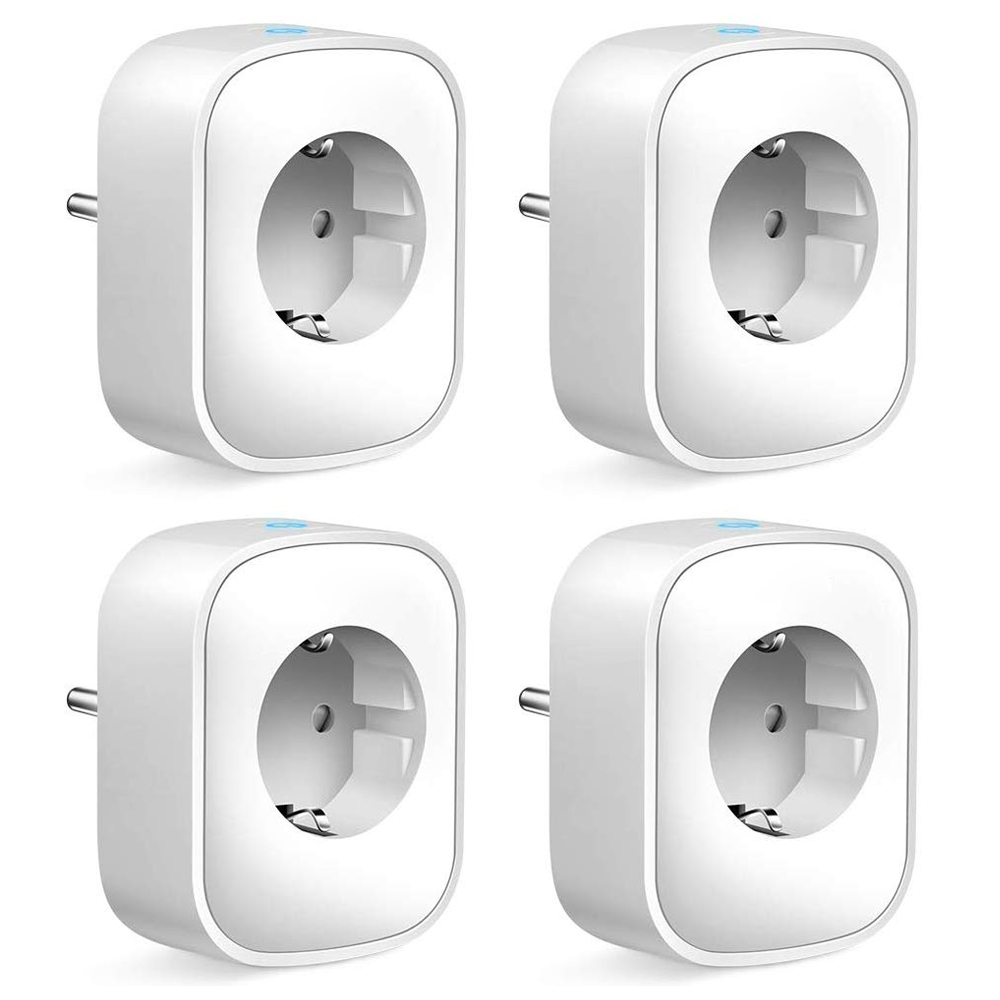 4pcs/lot TUYA WIFI Smart Socket EU Plug Power Meter Timer Remote Control Smart Timing Switch Compatible Google Home Alexa IFTTT
