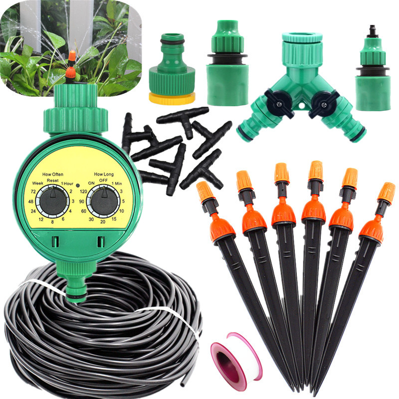 5 25m Atomizing Micro Sprinkler With Water Timer Drip Irrigation Equipment Family Balcony Garden Timing Automatic Watering Kits Watering Kits     - title=