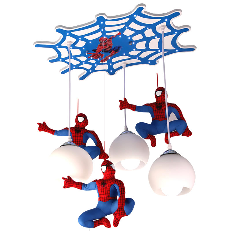 Children's Room LED Chandelier Cartoon Ceiling Lamp Spiderman Bedroom Eye Protection Lamp Boy Birthday Present